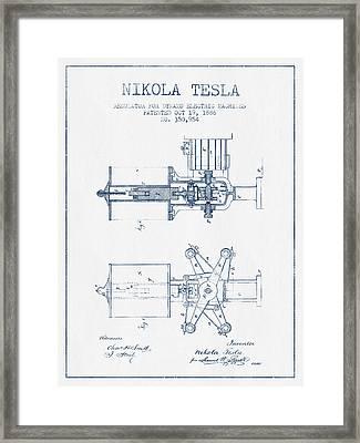 Nikola Tesla Regulator Patent Drawing From 1886- Blue Ink Framed Print by Aged Pixel