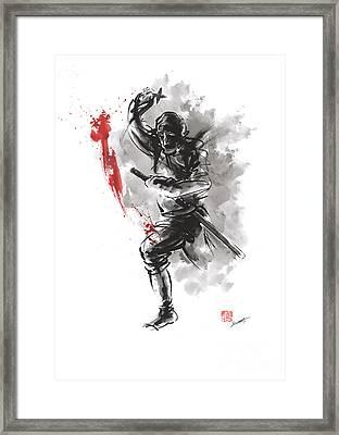 Ninja - Dark Warrior Framed Print by Mariusz Szmerdt