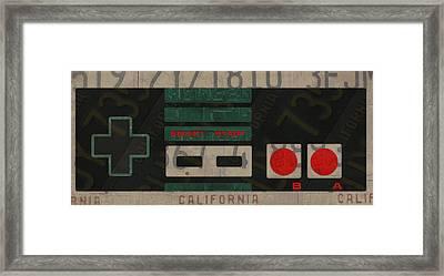 Nintendo Controller Vintage Video Game License Plate Art Framed Print by Design Turnpike