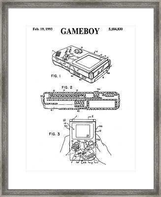 Nintendo Gameboy Patent Drawing Framed Print by Dan Sproul