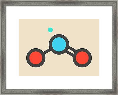 Nitrogen Dioxide Air Pollution Molecule Framed Print by Molekuul