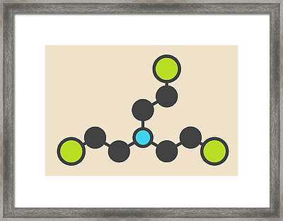 Nitrogen Mustard Molecule Framed Print by Molekuul
