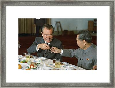 Nixon In China. President Richard Nixon Framed Print by Everett