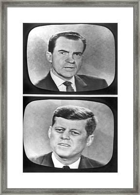 Nixon-kennedy Debate On Tv Framed Print by Underwood Archives