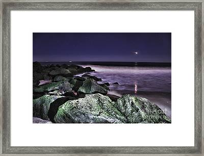 Nj Shore Shooting Star Framed Print by Paul Ward