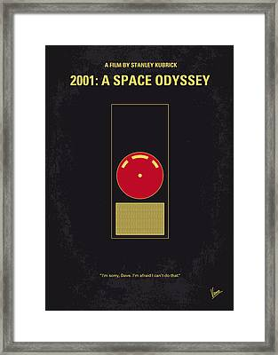 No003 My 2001 A Space Odyssey 2000 Minimal Movie Poster Framed Print by Chungkong Art