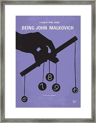 No009 My Being John Malkovich Minimal Movie Poster Framed Print by Chungkong Art