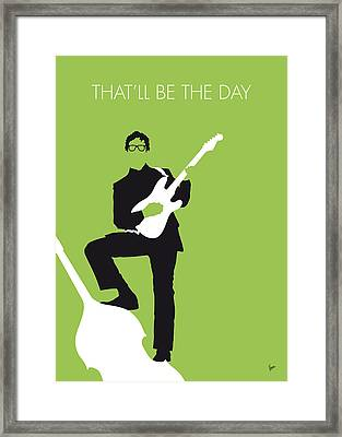 No056 My Buddy Holly Minimal Music Poster Framed Print by Chungkong Art