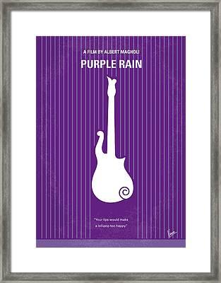 No124 My Purple Rain Minimal Movie Poster Framed Print by Chungkong Art