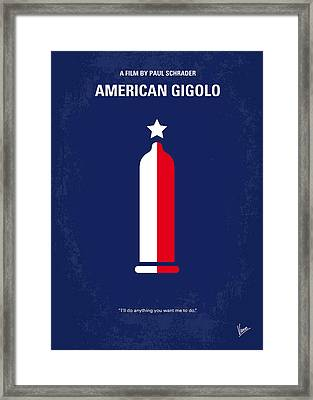 No150 My American Gigolo Minimal Movie Poster Framed Print by Chungkong Art