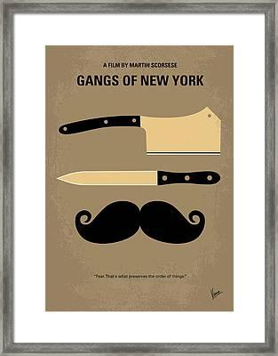No195 My Gangs Of New York Minimal Movie Poster Framed Print by Chungkong Art