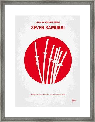No200 My The Seven Samurai Minimal Movie Poster Framed Print by Chungkong Art