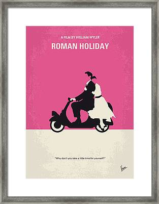 No205 My Roman Holiday Minimal Movie Poster Framed Print by Chungkong Art