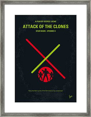 No224 My Star Wars Episode II Attack Of The Clones Minimal Movie Poster Framed Print by Chungkong Art
