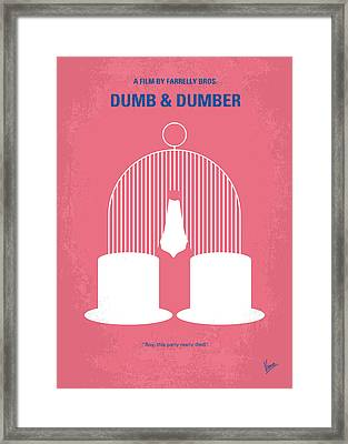 No241 My Dumb And Dumber Minimal Movie Poster Framed Print by Chungkong Art