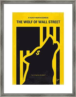 No338 My Wolf Of Wallstreet Minimal Movie Poster Framed Print by Chungkong Art