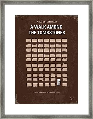 No341 My Walk Among The Tombstones Minimal Movie Poster Framed Print by Chungkong Art