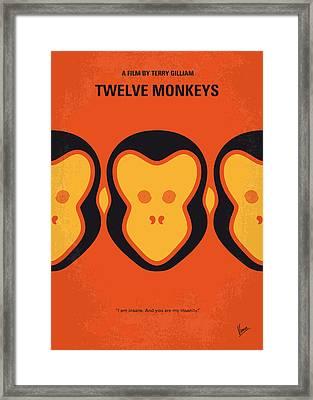 No355 My 12 Monkeys Minimal Movie Poster Framed Print by Chungkong Art