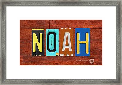 Noah License Plate Name Sign Fun Kid Room Decor. Framed Print by Design Turnpike