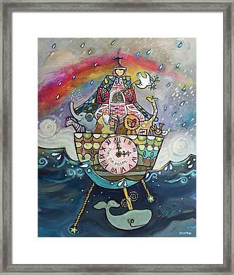 Noah's Ark Cuckoo Clock Wall Art Framed Print by Jen Norton