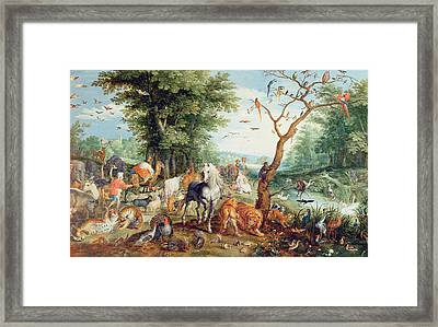Noahs Ark Oil On Canvas Framed Print by Jan Snellinck
