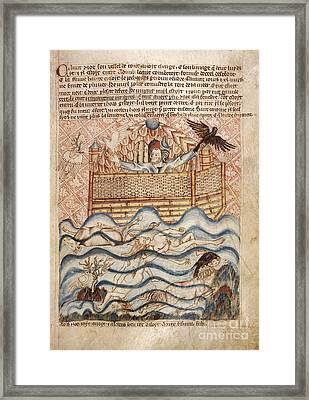 Noah's Flood, 14th-century Manuscript Framed Print by British Library