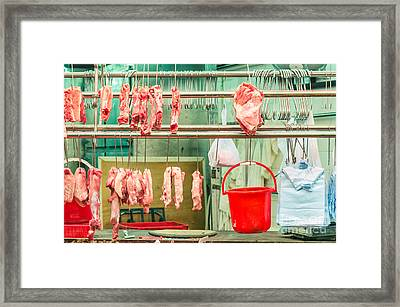 Nobody Butcher Stall Framed Print by Tuimages