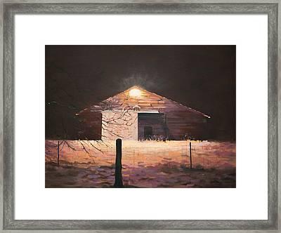 Nocturnal Barn Framed Print by Rebecca Matthews