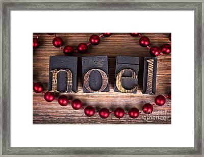 Noel Printer Blocks Framed Print by Jane Rix