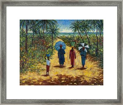 Noon Stroll,2010 Oil On Canvas Framed Print by Tilly Willis