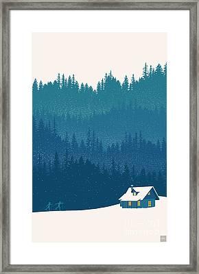Nordic Ski Scene Framed Print by Sassan Filsoof