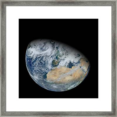North Africa And Europe, Satellite Image Framed Print by Science Photo Library