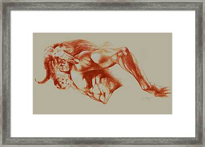 North American Minotaur Red Sketch Framed Print by Derrick Higgins