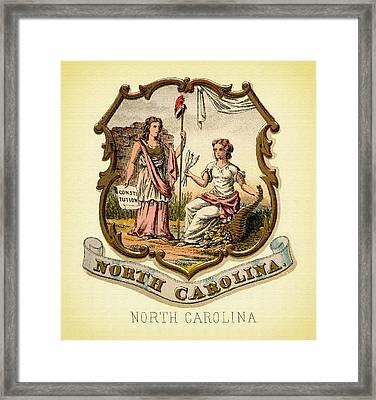 North Carolina Coat Of Arms - 1876 Framed Print by Mountain Dreams