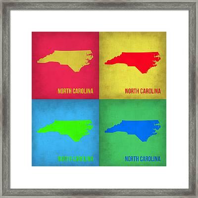 North Carolina Pop Art Map 1 Framed Print by Naxart Studio