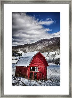 North Carolina Red Barn Framed Print by John Haldane