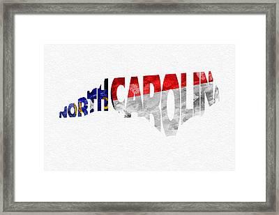 North Carolina Typographic Map Flag Framed Print by Ayse Deniz