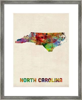 North Carolina Watercolor Map Framed Print by Michael Tompsett