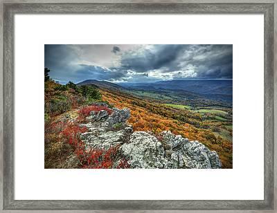 North Fork Mountain Overlook Framed Print by Jaki Miller