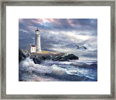 North Head Lighthouse At The Eve Of A Storm Framed Print by Regina Femrite