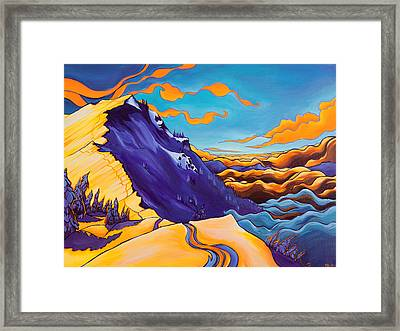 North Ridge Alpenglow Framed Print by Rachel Pohl