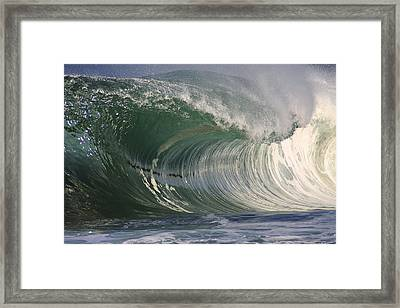 North Shore Powerful Wave Framed Print by Vince Cavataio