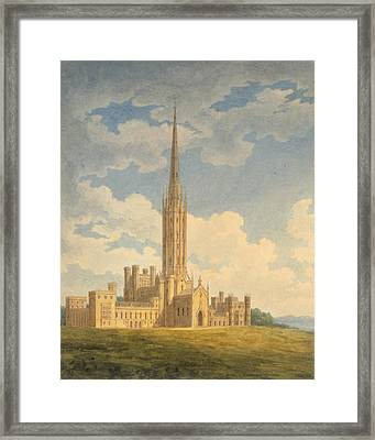 North-west View Of Fonthill Abbey Framed Print by Charles Wild