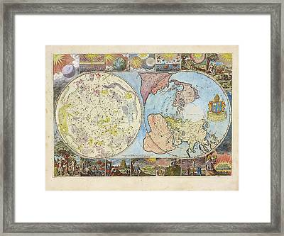 Northern Hemisphere Map Framed Print by Lionel Pincus And Princess Firyal Map Division/new York Public Library