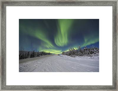 Northern Lights Dancing Over The James Framed Print by Lucas Payne