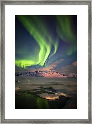 Northern Lights Highway Framed Print by Deryk Baumgaertner