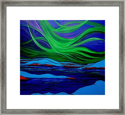Northern Lights Framed Print by Kathy Peltomaa Lewis