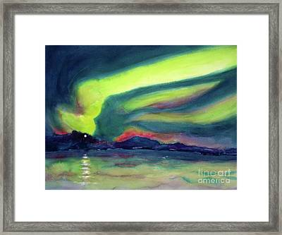 Northern Lights On Superior Shores Framed Print by Kathy Braud