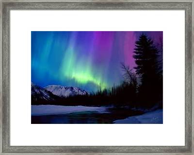 Northern Lights Framed Print by Shere Crossman