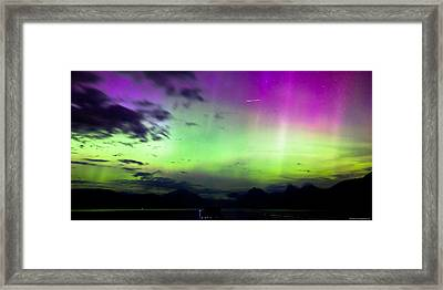 Northern Lights With Meteor Framed Print by John Harwood